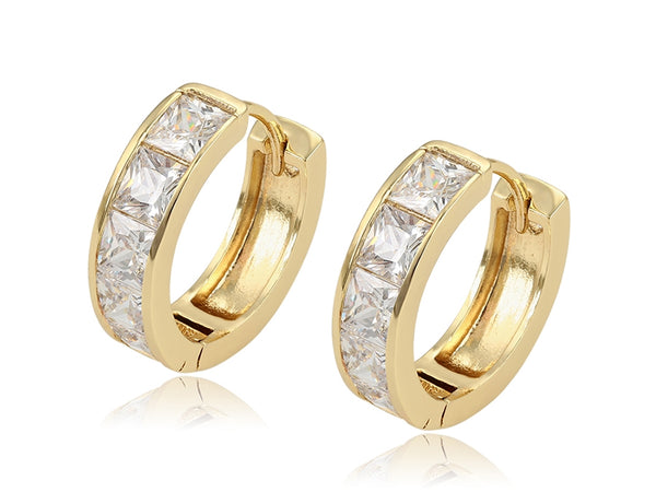 14k Gold plated Cubic zirconia hoop earrings - HNS Studio