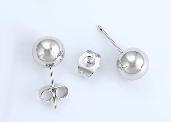 9mm Ball Stud Silver  Earrings - HNS Studio