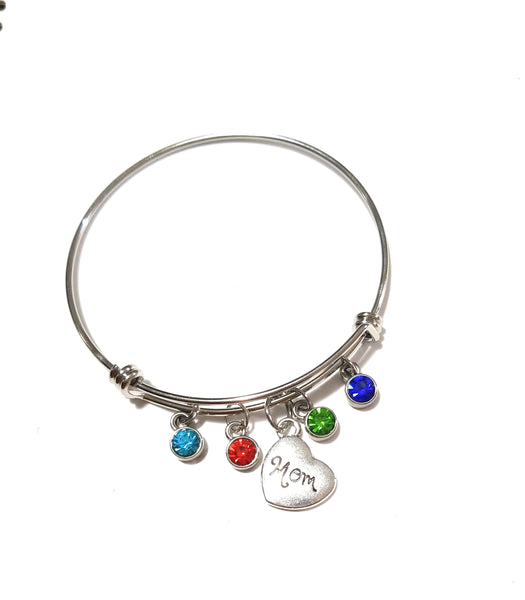 Mom bracelet with Birthstones - HNS Studio