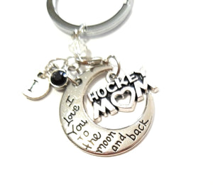 I Love You to the Moon and Back Hockey Mom Keychain - HNS Studio