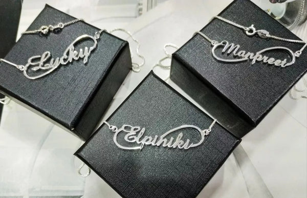 Signature Infinity Sterling Silver Name necklace