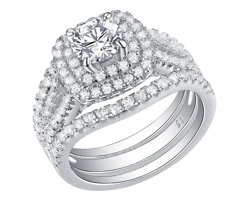 3 Piece Wedding ring Set