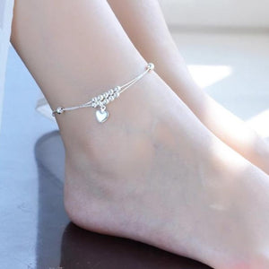 925 Sterling Silver Simple Heart Beads Anklet Bracelet - HNS Studio