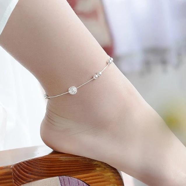 Sterling Silver Ball Anklet - HNS Studio