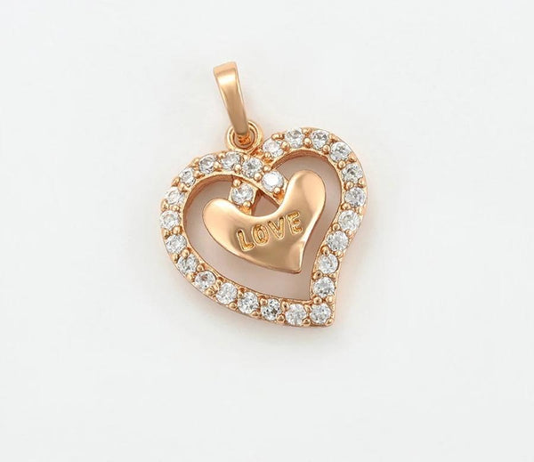 Rose gold Double Heart necklace with Initial