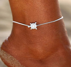 Silver Plated Sea turtle Anklet - HNS Studio