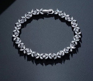 White gold plated Cubic zirconia Tennis Bridal Bracelet - HNS Studio