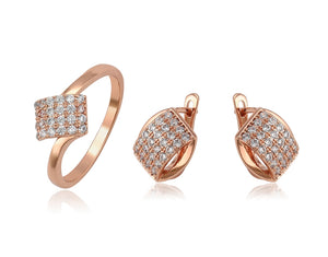 Rose Gold Earrings and Ring Jewelry Set - HNS Studio