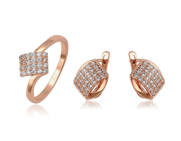 Rose Gold Earrings and Ring Jewelry Set