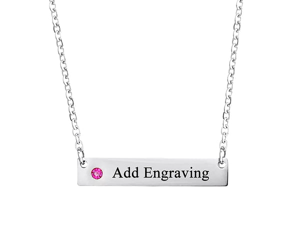 Silver Bar Necklace with Birthstone and Name - HNS Studio