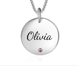 Name Disc Pendant necklace  With Birthstone
