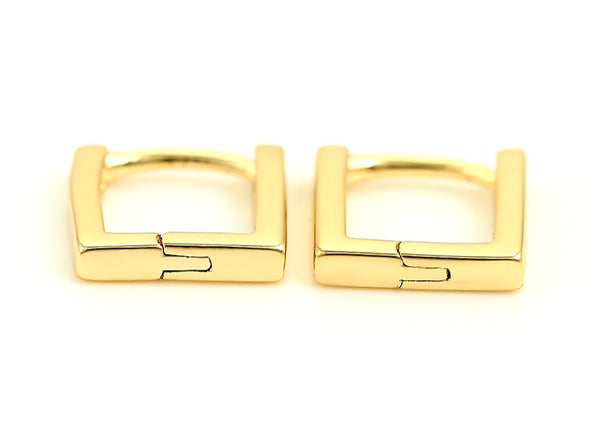 14k Yellow Gold Plated Rectangular Hoop Earrings - HNS Studio