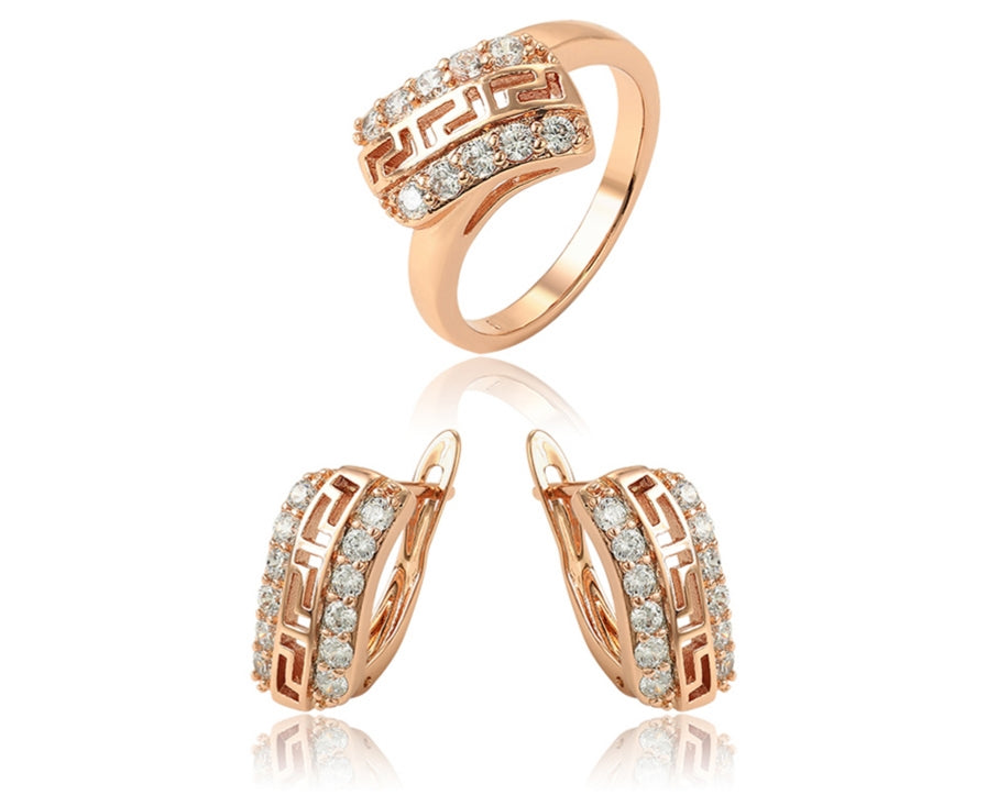18K Rose Gold Plated Earrings and Ring Jewelry Set