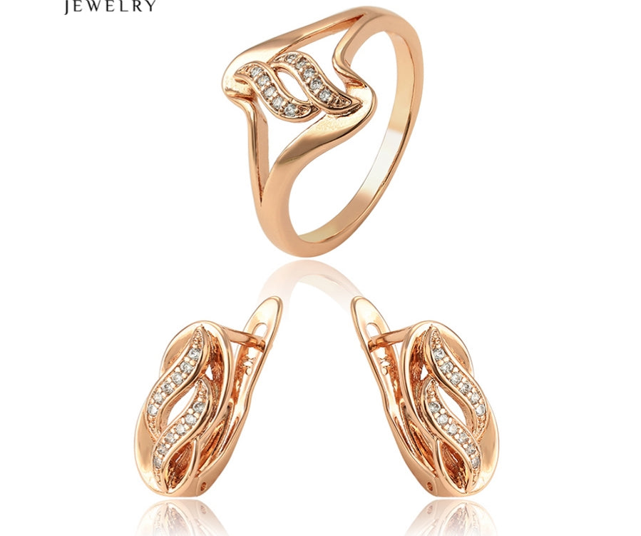 18k Rose gold plated earrings and ring Jewelry set - HNS Studio