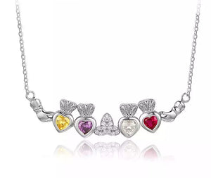 Sterling Silver Necklace with 4 Birthstones - HNS Studio