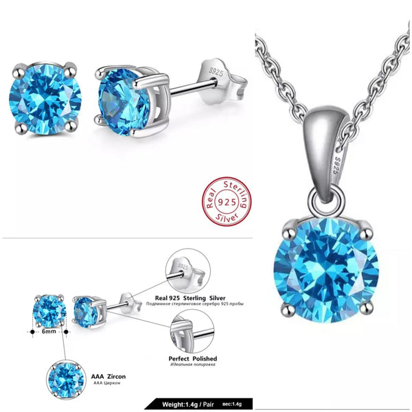 Sterling Silver Birthstone Stud Earrings and Necklace Set - HNS Studio