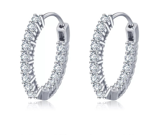 Sterling Silver Cubic Zirconia Hoop Earrings - HNS Studio