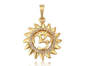 14k Gold Plated OM Pendant Necklace