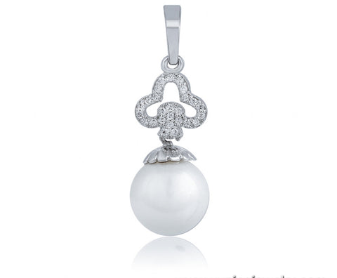 Freshwater Pearl and Cubic Zirconia Drop Pendant Necklace