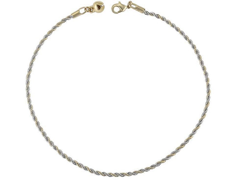 Stainless steel two tone rope chain anklet bracelet