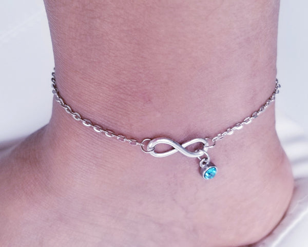 Infinity anklet with birthstone