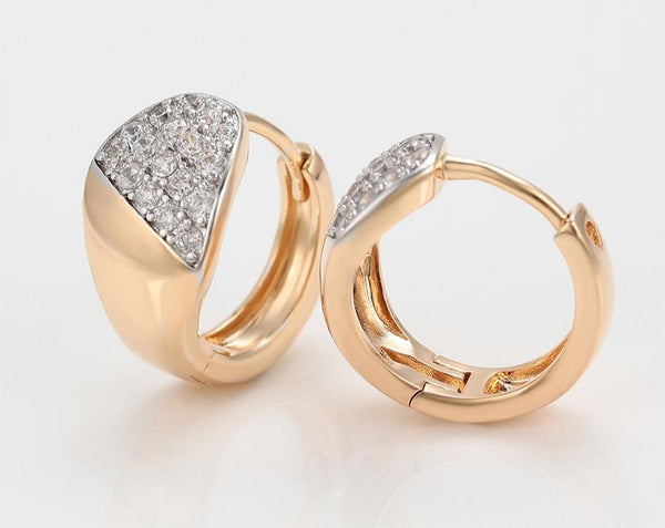 18K Gold Plated Two-Tone Hoop Earrings