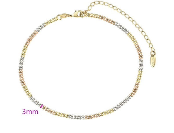 Tricolour Two Layers Simple Anklet