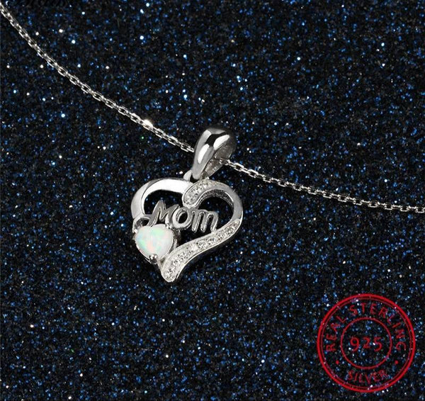 Sterling Silver Heart Mom Necklace
