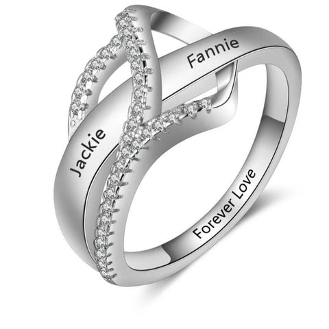 Personalized Heart Ring With Two Names