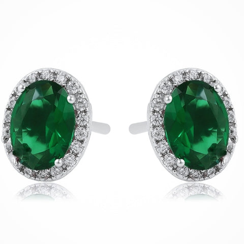 Green Oval Stud Earrings-Clearance