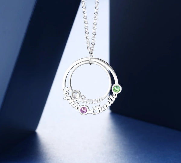 Personalized Family Circle Necklace with Birthstones