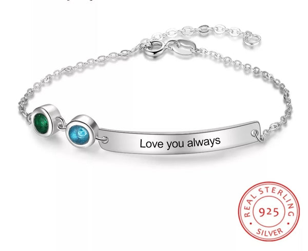 Personalized Bracelet with two Birthstones and Engraved Message