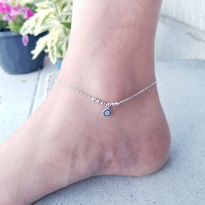 Evil Eye Sterling Silver Anklet