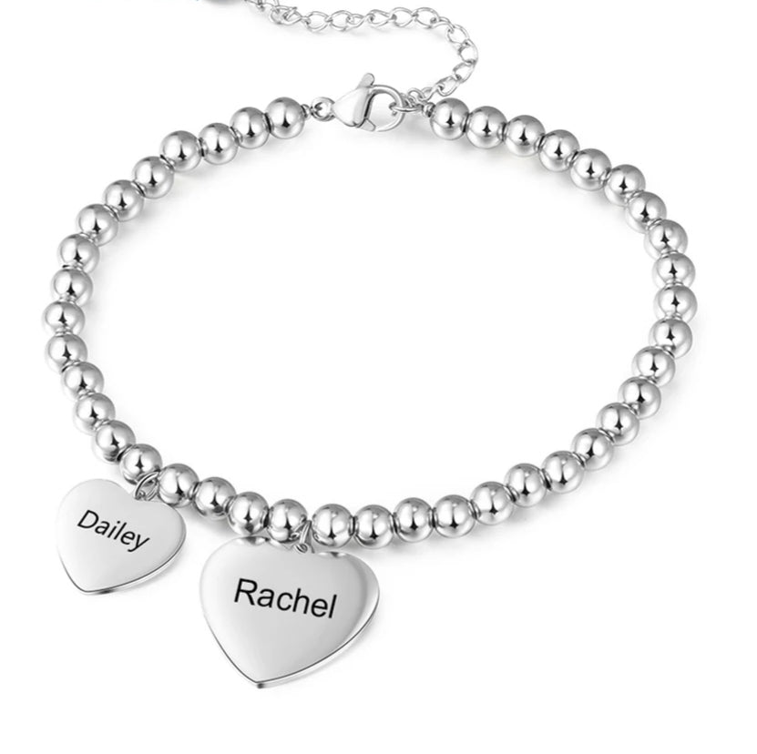 Heart tag two names bracelet