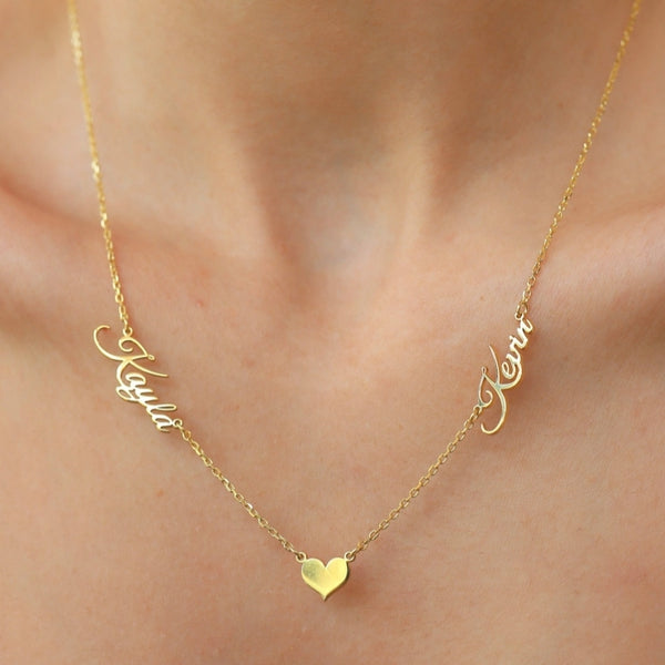 Two Names Necklace with Heart
