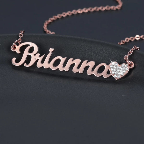 Custom Name Necklace with Bling Iced Out Heart