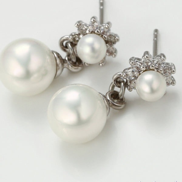 Pearl Drop Earrings  and Necklace set