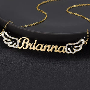 Custom Name Necklace with Bling Iced Angel Wings