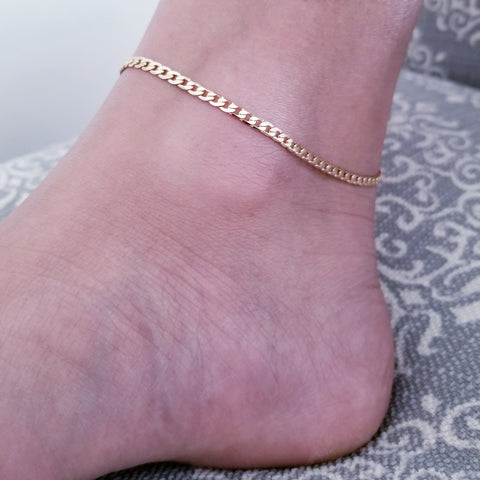 18K Gold Plated Curb Link Anklet