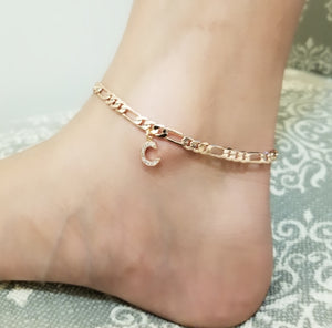18k Rose Gold plated initial Anklet