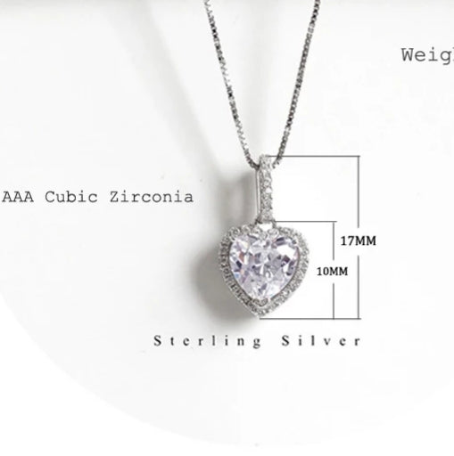 Sterling Silver Halo Heart Pendant Necklace