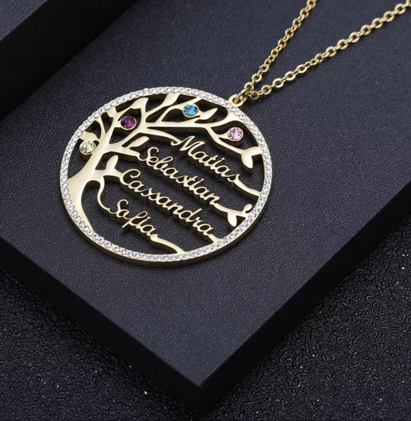 Family Tree Birthstones and Names Necklace
