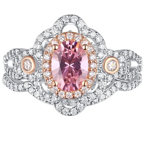 Pink Stone wedding Ring-HNS Studio