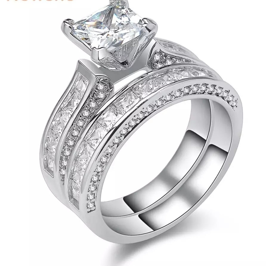 1.25 Carats Princess Cut Sterling Silver Women's Wedding Ring Set-HNS Studio