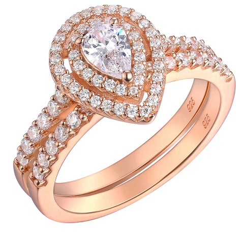 Pear Shape Halo Rose Gold Ring Set- HNS Studio