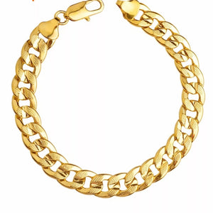10mm Cuban Link Gold Plated Stainless Steel Bracelet for Men