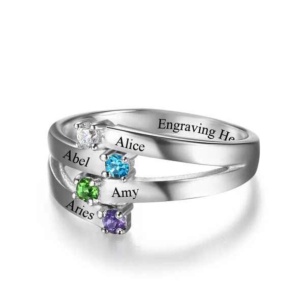 Personalized Sterling Silver family names Ring with Birthstones - HNS Studio