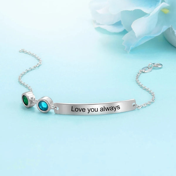 Personalized Bracelet with two Birthstones and Engraved Message - HNS Studio