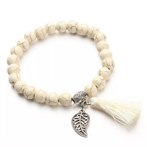Beaded Bracelet with Tassel and feather Charm - HNS Studio