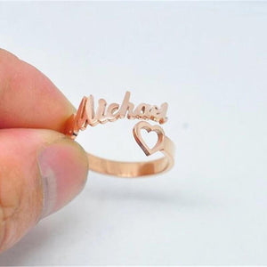 Personalized Name Ring With Heart